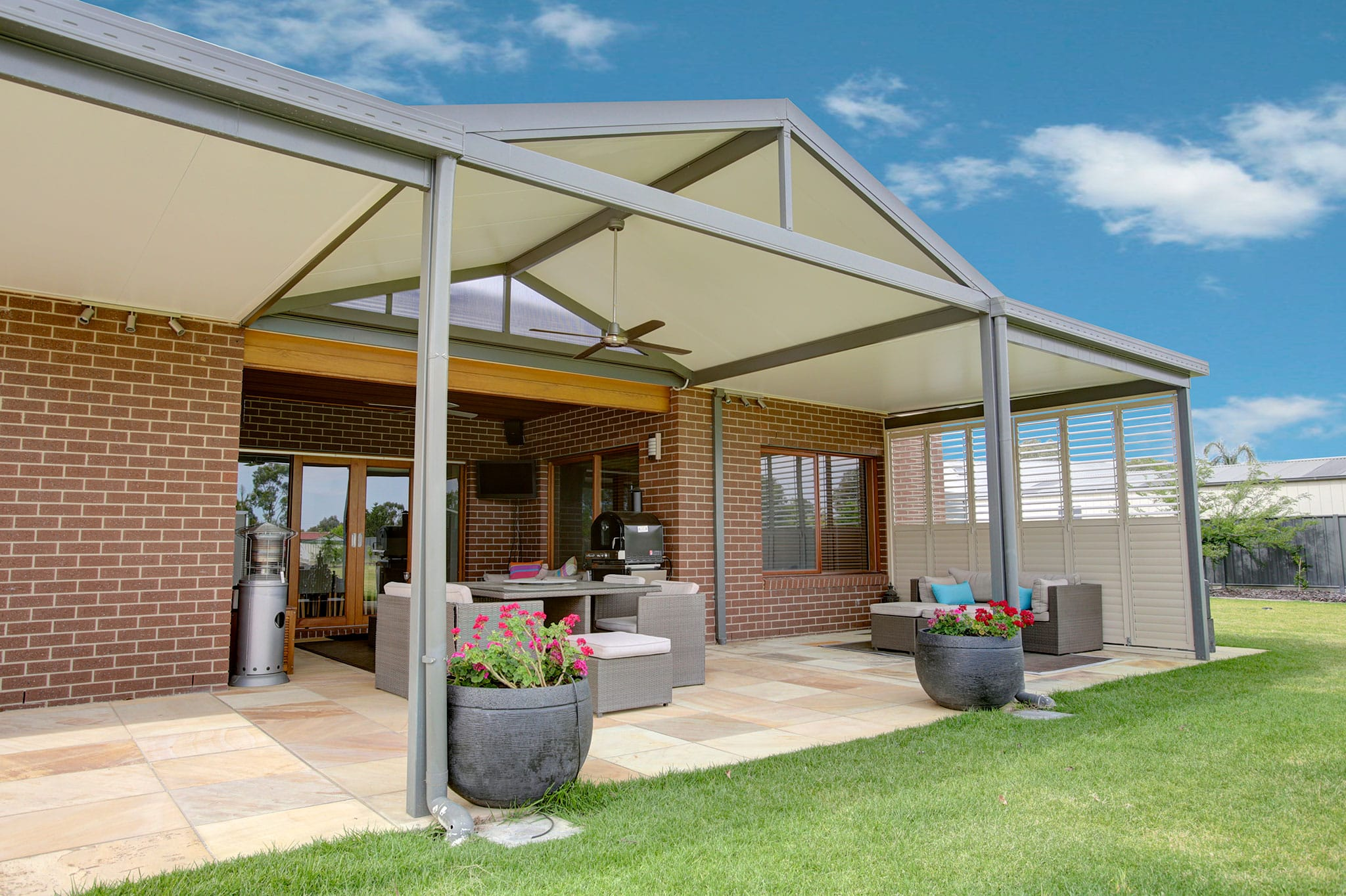 Perth 39 s best flat and gable patios display centres in for Gable roof addition